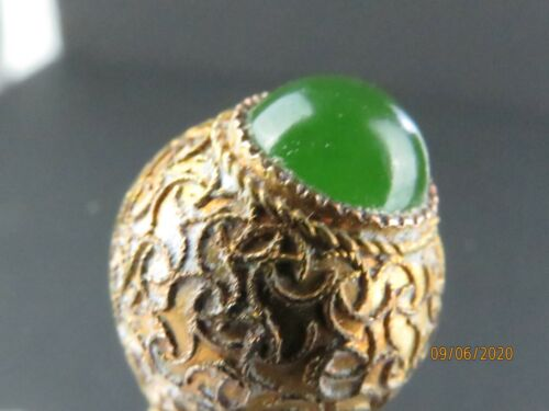 Antique Filigree 14k gold green stone hatpin