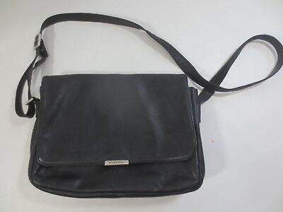 Klappe Schwarz Handtaschen (Klappen Handtasche FOSSIL Leder Echtleder innen Imitat schwarz vintage /26)