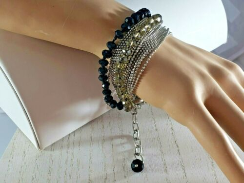 18  Multi Strand Silver Tone Ball Chain Bracelet with Crystals STATEMENT UNIQUE