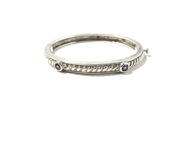 Judith Ripka Sterling Silver Purple Amethyst Cable Bangle Bracelet #8597