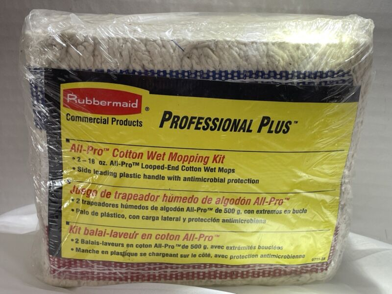 2 Rubbermaid Commercial Professional Looped End Cotton Wet Mop Kit 18OZ All Pro