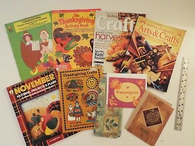 9-lot-Thanksgiving Arts & Crafts Books-Activity-November-Projects-Cards-Reading*