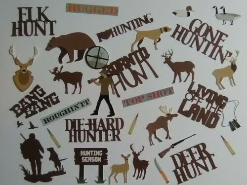 30 pc HUNT related diecuts in PRINT & brown words for scrapbook greeting card