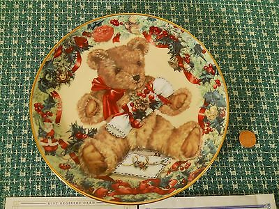 """Teddy's First Christmas 8"""" Franklin Mint Heirloom Recommendation Collector Plate"""