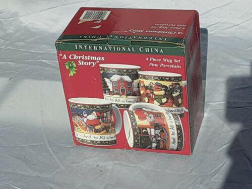 "INTERNATIONAL CHINA ""A Christmas Story"" 4 Piece MUG SET Susan Winget"