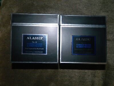 Colbalt Water   Driftwood  Alassis  Large 2 Wick 40 Hour Scented Jar Candle X 2