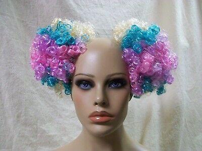 Pastel Rainbow Clown Puffs Hair Bun Covers Curly Afro Pouf Comb Extensions - Clown Hair