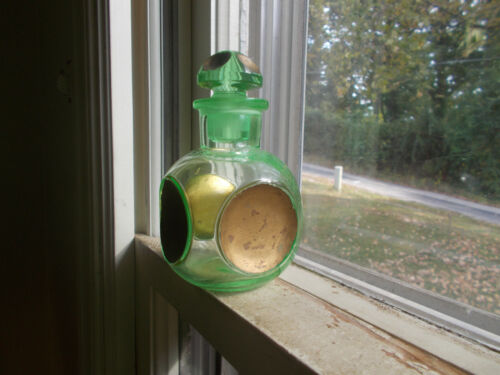 PRETTY GREEN HAND BLOWN COLOGNE BOTTLE SUNKEN GOLD CIRCLES WITH MATCHING STOPPER