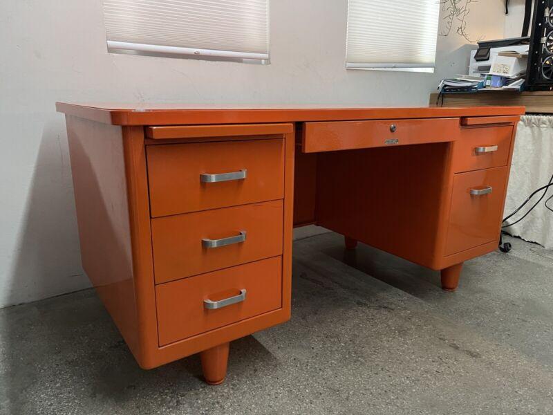 McDowell Craig Mid Century Tanker Desk Refinished in Orange