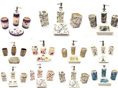 Ceramic Bathroom 4 Piece (4 Piece Elegant Ceramic Bathroom Accessory Set - Beautiful Printed)
