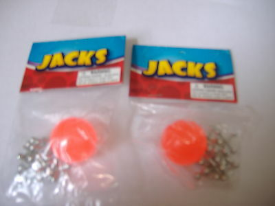2 Set of metal jacks with red rubber ball 8 metal jacks and 1 ball classic game