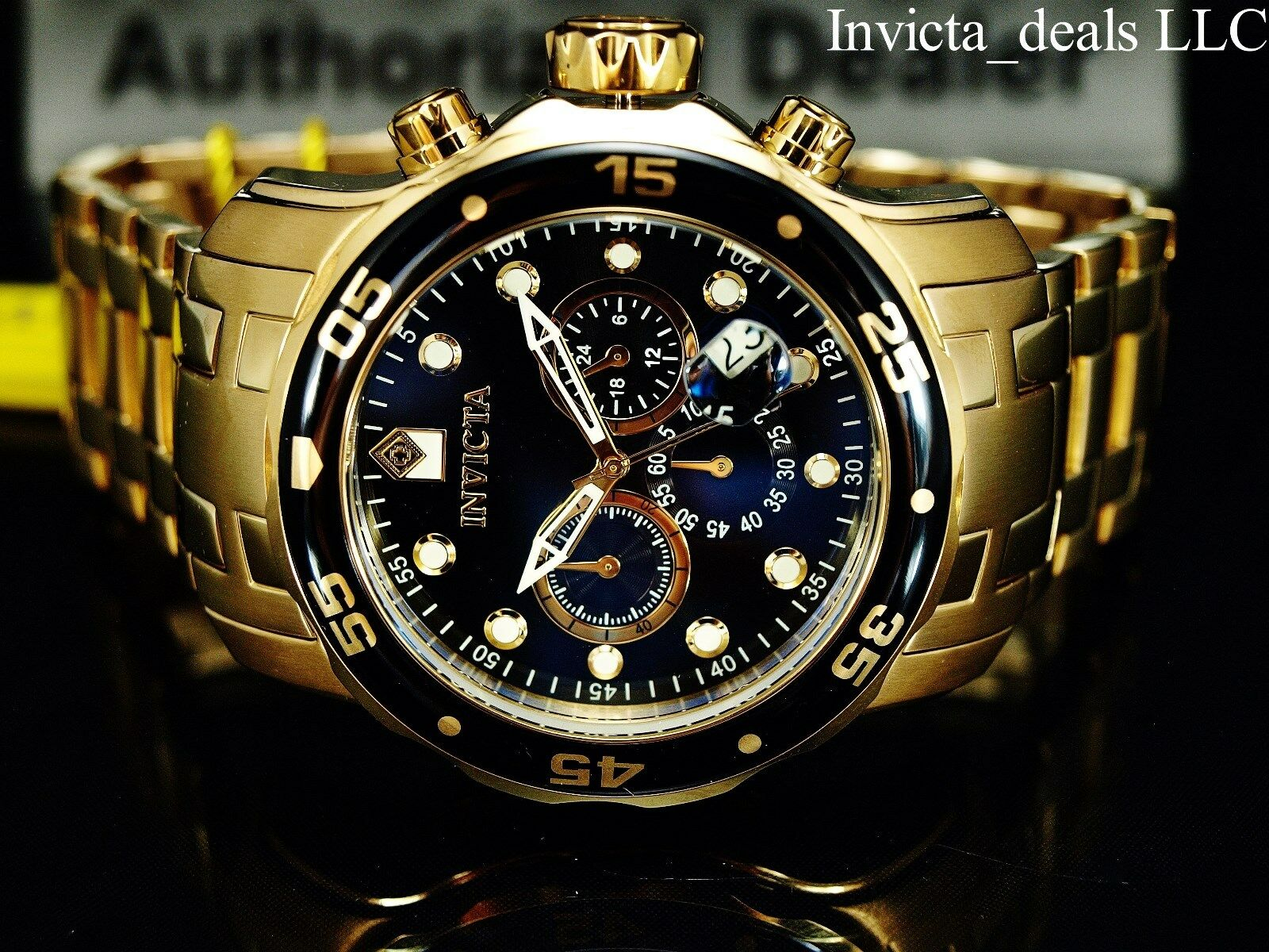 Invicta Men 48mm Pro Diver SCUBA Chronograph Black Dial 18k