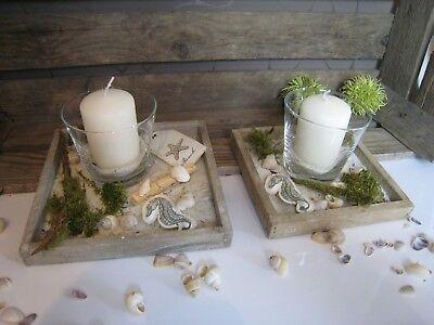 Tischgesteck Tischdeko Gesteck Maritim Sand Sommer Muscheln Windlicht Strand