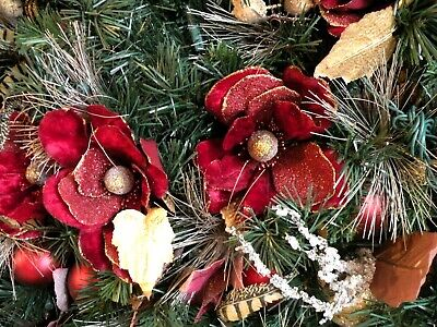 Christmas Garland Red Magnolia Decorated 9 foot Pre-lit 150 Clear Bright Lights ()