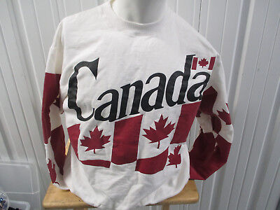 VINTAGE NUTREND FASHIONS CANADA FLAG XL WHITE SWEATSHIRT 80s/90s made in CANADA