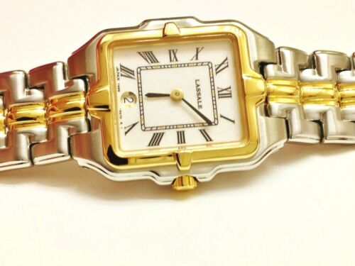 """LASSALE BY SEIKO LADIES CZD006 """"RUNNING"""" 22KT GOLD PLATED QUARTZ WATCH 7N89 5A29"""