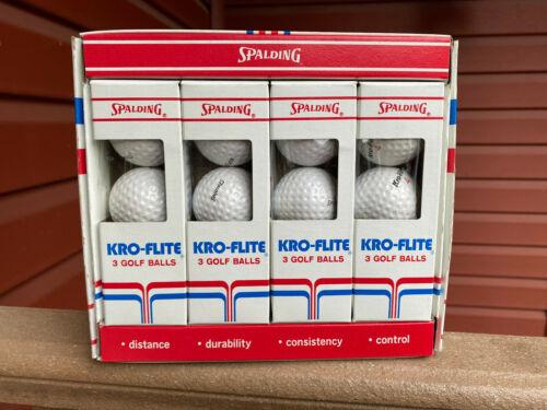 Vintage SPALDING KRO-FLITE Dozen Golf Balls Complete Box 90 Compression Balls