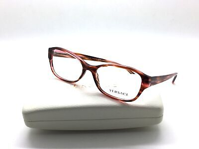 Versace Eyeglasses VS3176-5041 Clear Pink Havana Acetate 51 16 135 (Glass Vs Plastic Lenses)