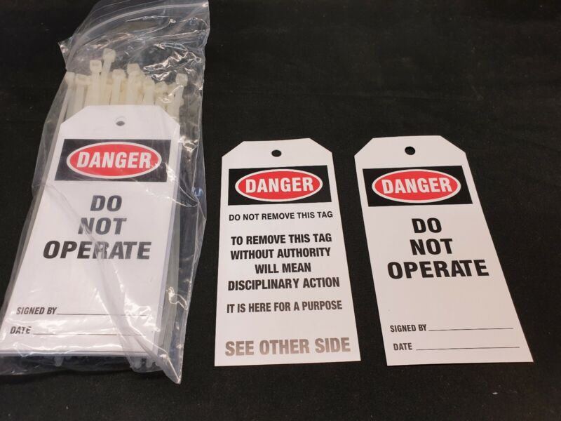 50 pack of Danger Do Not Operate Safety Lockout tags