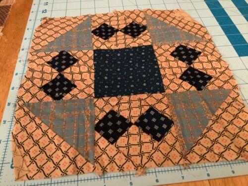ANTIQUE 1800 quilt block indigo and more HAND STITCHED