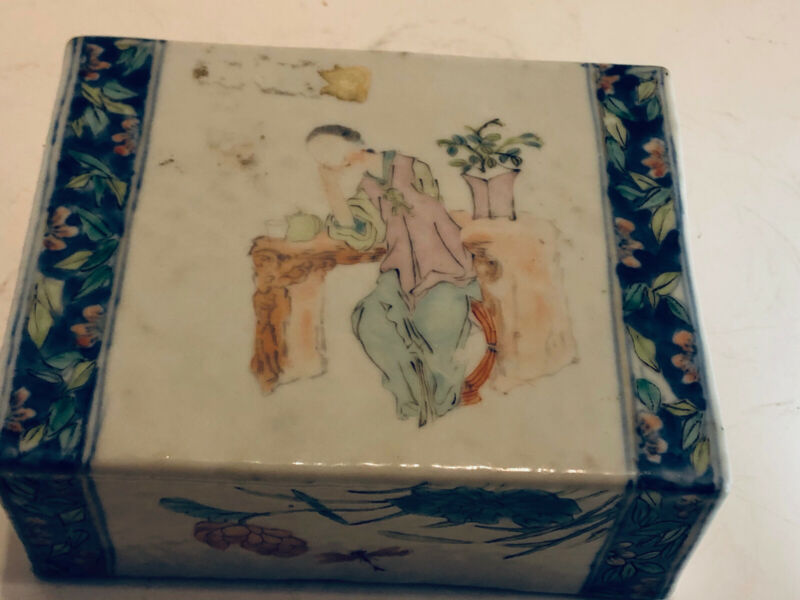 Antique Chinese Porcelain Pillow Head Rest And Painted 1830-1850 Brick Shape