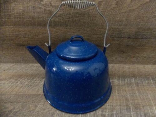 Vintage Blue Speckled Enamel Ware Coffee Tea Pot / Kettle With Metal Wire Handle