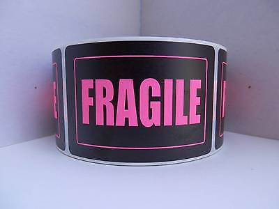 Fragile 2x3 Warning Stickers Labels Pink Fluorescent Letters Black Bkgd 250rl