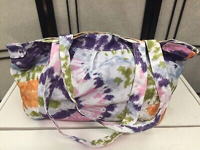 Gym Tote Bags (Large Tie Dye Lightweight Tote, Gym, Overnight Bag  - Purple. Pink,)
