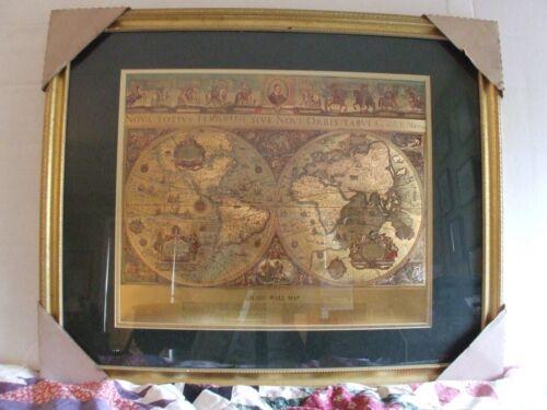 """VINTAGE Framed GOLD FOIL BLAEU Wall map OLD & NEW WORLD 35"""" X 29.5"""""""