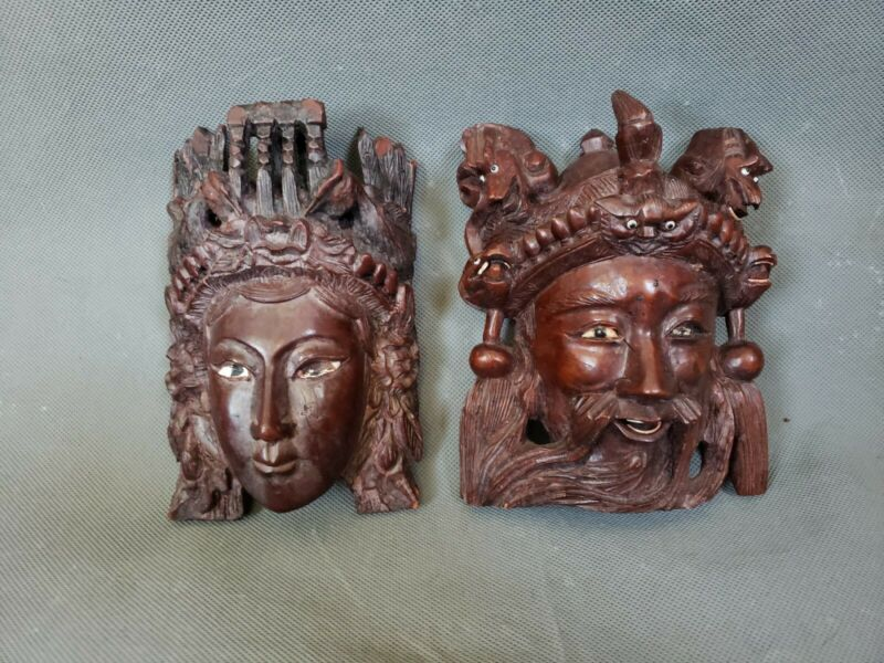 Vintage Chinese Wood Hand Carved Mask Tibetan Emperor Empress Lot of 2