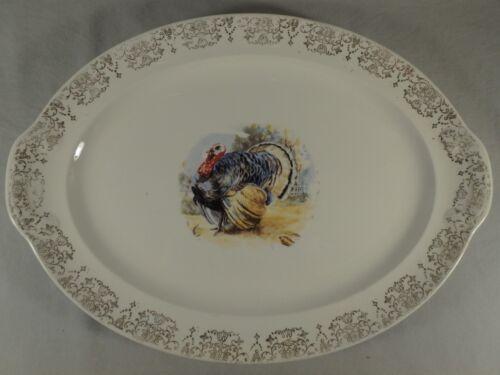 "Thanksgiving 16"" Ceramic Oval Turkey Serving Platter Plate Dish Bird Meat"
