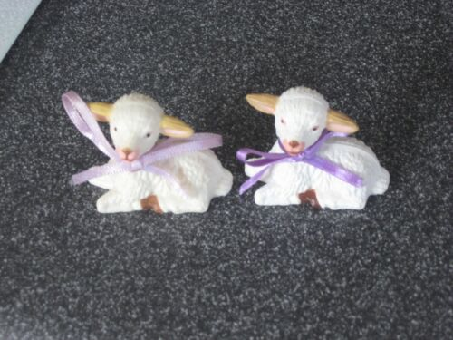 2 Vintage Highly Detailed Mini Lamb Figurines with Bows Makes a Great Display
