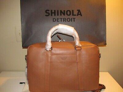 Shinola Detroit, Cognac Tanned Expandable Computer Business Brief Laptop, NWT