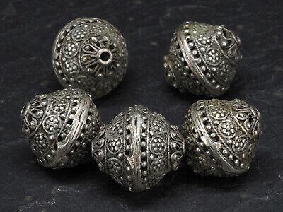 5 Antique silver beads. Sri Lanka. Tribal, ethnic jewelry