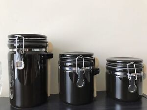 3 Canister Set With Wooden Spoons
