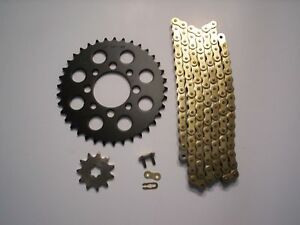 KAWASAKI KLX110 KLX 110 NEW 14/33 SPROCKET & GOLD CHAIN SET 2003 - 2009