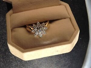 14 K Gold Large Snowflake Diamond Cluster Ring