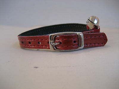 LEATHER RED PEARL PATENT CAT COLLAR