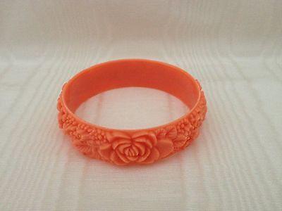 Vintage Wide Carved Celluloid Plastic Floral Bangle Bracelet Coral Salmon