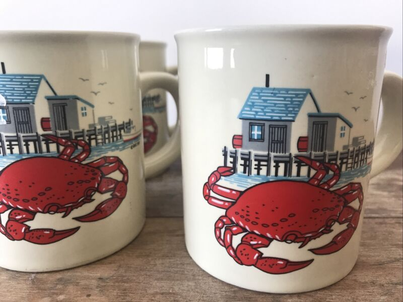 LOT of 4 VTG Down East Crafts Red Crab Mugs Set 1980's Made In Japan Coffee Tea
