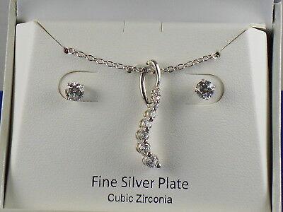 - BELK SILVERWORKS Fine Silver Plate CZ Journey Pendant Necklace Stud Earrings Set