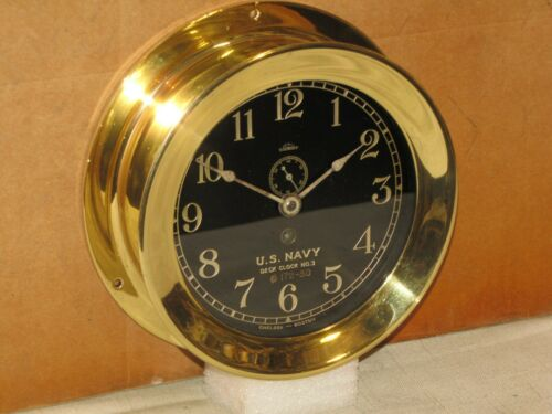 "CHELSEA ANTIQUE SHIPS  CLOCK~6"" DIAL~U.S.NAVY DECK CLOCK #3~1909~RESTORED"