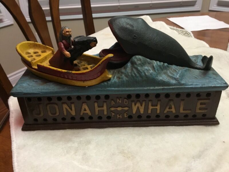 Vintage Jonah & The Whale Cast Iron Mechanical Bank - USA Book Of Knowledge