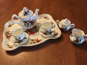 English Rose Miniature Christmas Tea Set