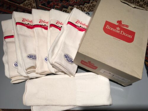 Vtg Dead Stock 6 pr Bonnie Doon Hi Cotton Nylon Soft Thick Crew Tube Socks + BOX