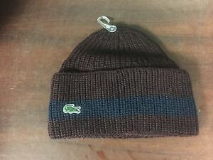 ce1398b5e0 LACOSTE MEN'S RIBBED WOOL TURNED EDGE BEANIE HAT NAVY BLUE RB2749-51-59k