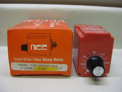 New NCC Ametek T3K-00060-466 6-60 Sec 12V Solid State Timer Time Delay Relay
