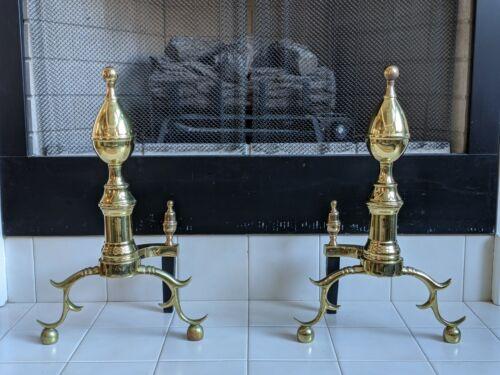 Virginia Metalcrafters Brass Colonial Spire Fireplace Andirons/Firedog/Dog-Iron