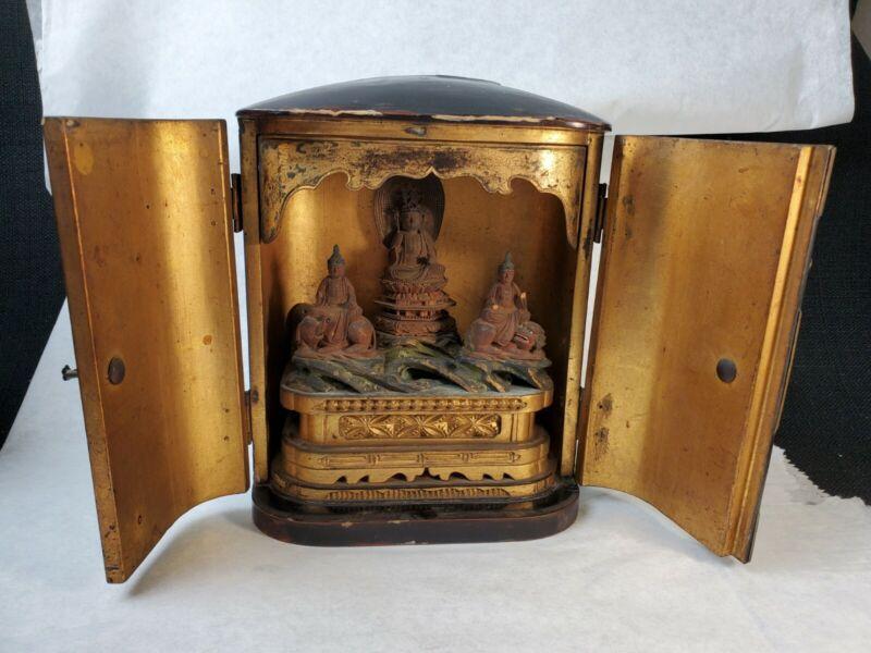 Antique Japanese Kakai Buddha Zushi Traveling Shrine