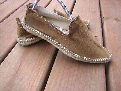 Zara Basic 36 6 Light Brown Suede Espadrille Slip On Loafers Shoes Flats Slides